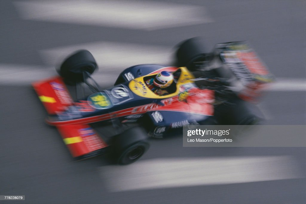 French racing driver Yannick Dalmas drives the #29 Larrousse Calmels Lola LC88 Ford Cosworth DFZ 3.5 V8 to finish in 7th place in the 1988 Monaco Grand Prix at the Circuit de Monaco in Monte Carlo on 15th May 1988.