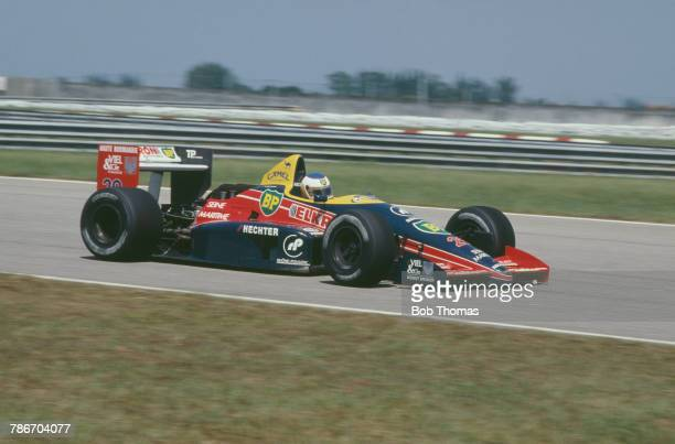 French racing driver Yannick Dalmas drives the Larrousse Calmels Lola LC88 Ford Cosworth DFZ 35 V8 in the 1988 Brazilian Grand Prix at the Autodromo...