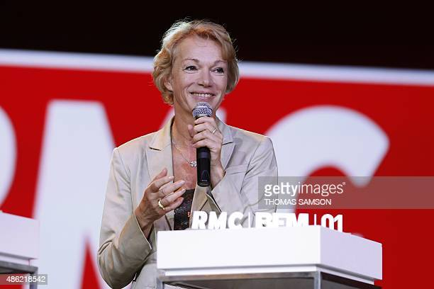 French radio host Brigitte Lahaie delivers a speech during the NextRadioTV group press conference in Paris on September 2 2015 NextRadioTV is a...