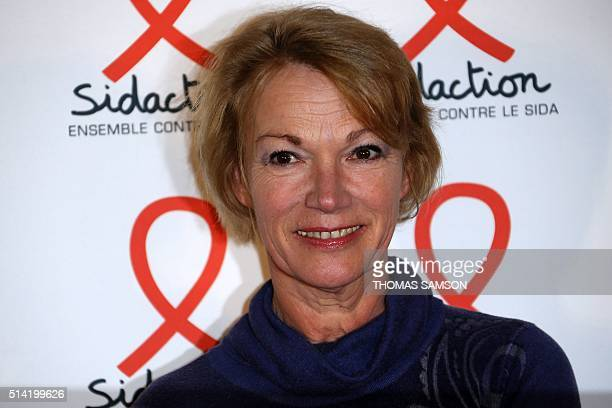 French radio talk show host Brigitte Lahaie poses during the launch of Sidaction 2016 a fundraiser to fight against AIDS in Paris on March 7 2016 /...
