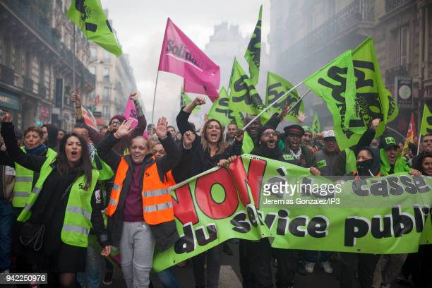 French rail workers of the union SUD demonstrate on April 3 2018 in Paris France French unions plan strikes two days every week through June to...