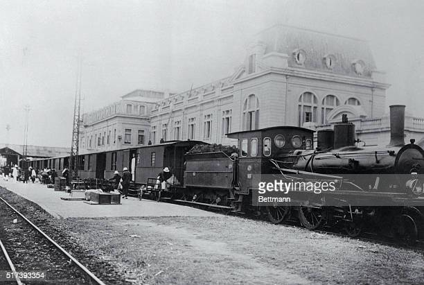 French Railroad Bombed by Japanese Hanoi French Indochina A train of the French IndoChinaYunnan Railroad is shown arriving at Hanoi Station near the...