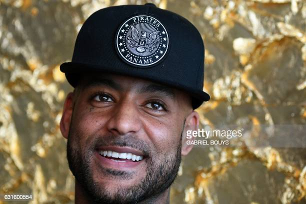 French rap artist Booba poses at the Stade de lAmitié Sinogabonaise Stadium in Libreville on January 13 2017 on the eve of the opening game of the...