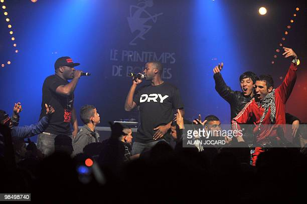 """French rap band Sexion d'Assaut, perform on stage on April 13, 2010 in Bourges, central France, during the 34th edition of """"Le printemps de Bourges""""..."""