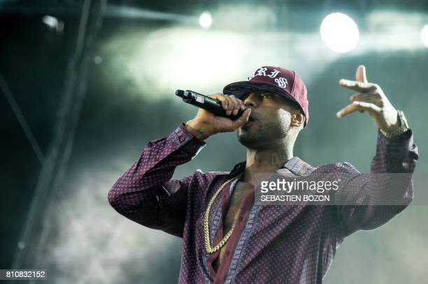 French rap singer Booba performs on stage during the 29th Eurockeennes rock music festival on July 8 2017 in Belfort eastern France