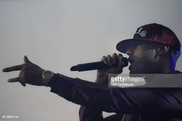 French rap singer Booba performs on stage during the 29th Eurockeennes rock music festival on July 8 2017 in Belfort eastern France / AFP PHOTO /...