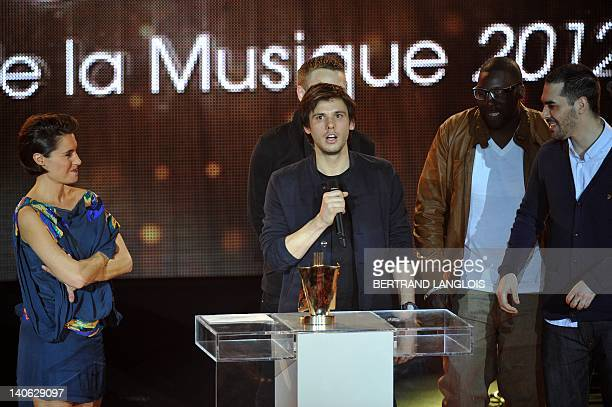 French rap singer Orelsan gives a speech after receiving the best newcomer artist of the year award during the 27th Victoires de la Musique, annual...