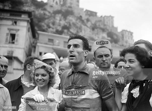 French Raphael Geminiani wins the 9th stage of the Tour de France 1955 between BriançonMonaco on July 15 1955