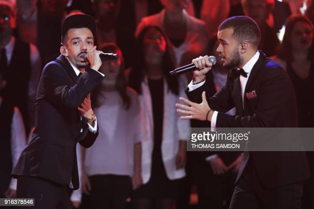 French rapper and member of the duet Bigflo Oli Florian Ordonez aka Bigflo and Olivio Ordonez aka Oli perform on stage during the 33rd Victoires de...