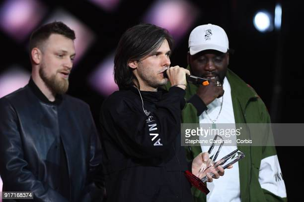 French rapper Aurelien Cotentin aka Orelsan delivers a speech after receiving the Best Male Artist award during the 33rd 'Les Victoires De La...
