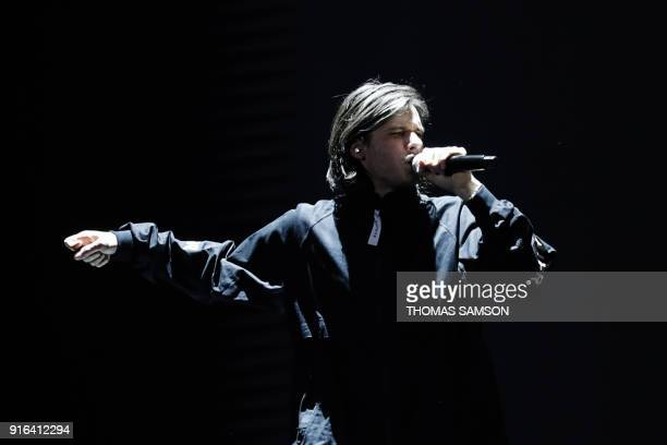 TOPSHOT French rapper Aurelien Cotentin aka Orelsan performs during the 33rd Victoires de la Musique the annual French music awards ceremony on...