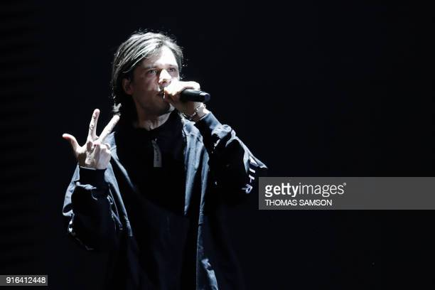 French rapper Aurelien Cotentin aka Orelsan performs during the 33rd Victoires de la Musique, the annual French music awards ceremony, on February 9,...