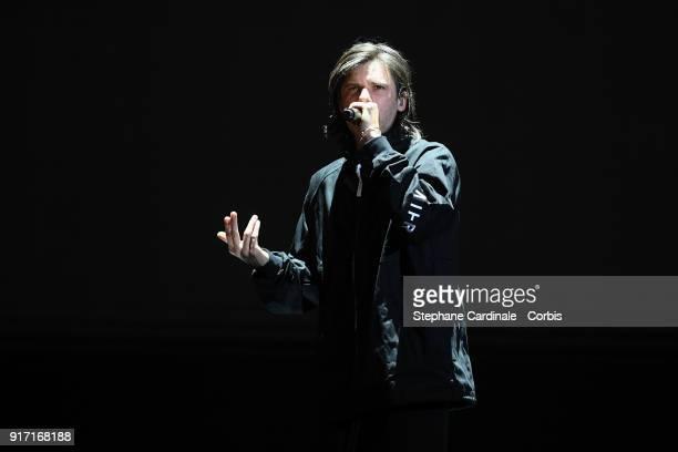 French rapper Aurelien Cotentin aka Orelsan performs during the 33rd 'Les Victoires De La Musique' at La Seine Musicale on February 9 2018 in...