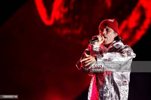 French rapper Aurelien Cotentin aka Orelsan performs on stage during the 34th Victoires de la Musique the annual French music awards ceremony on...