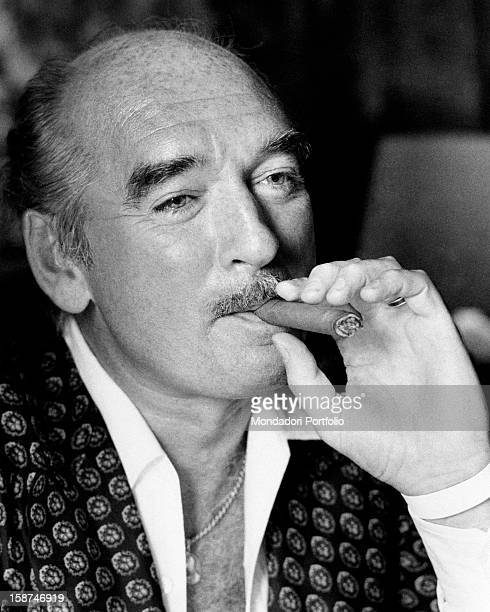 French recordcompany owner Eddie Barclay smoking a cigar Paris 1970s