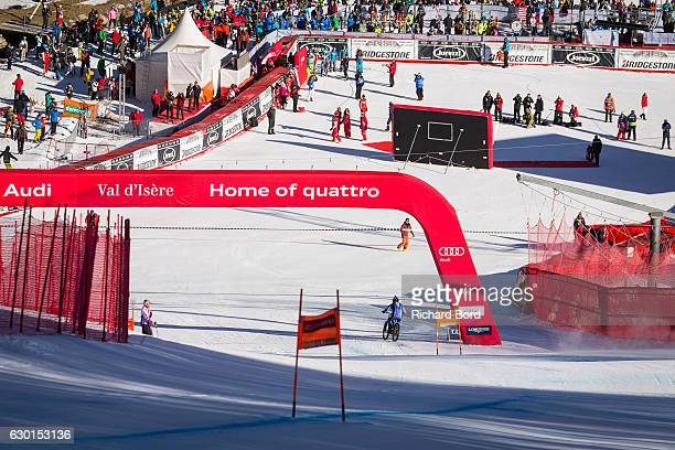 French Recordman Eric Barone crosses the finish line of the World Cup Ski slope after the Audi FIS Alpine Ski World Cup Women's Downhill on December...