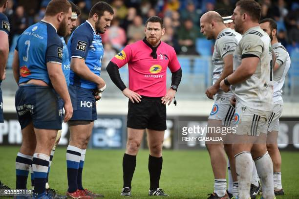 French referee Laurent Cardona looks on during the French Top 14 rugby union match between Castres and Brive on March 18 at the Pierre Fabre Stadium...