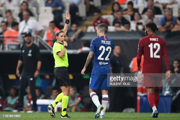 French referee Stephanie Frappart blows the whistle during the UEFA Super Cup 2019 football match between FC Liverpool and FC Chelsea at Besiktas...