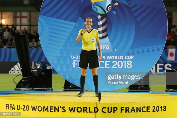 French referee Stephanie Frappart during the Women's World Cup Final match between Spain U20 and Japan U20 on August 24, 2018 in Vannes, France.