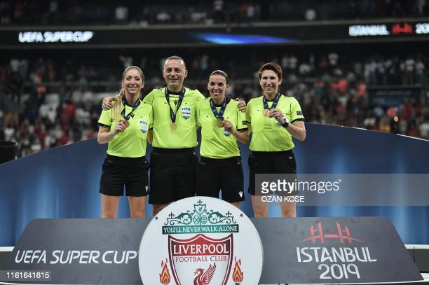 French referee Stephanie Frappart French assistant referee Manuela Nicolosi Irish assitant referee Michelle O'Neill and French VAR referee Clement...