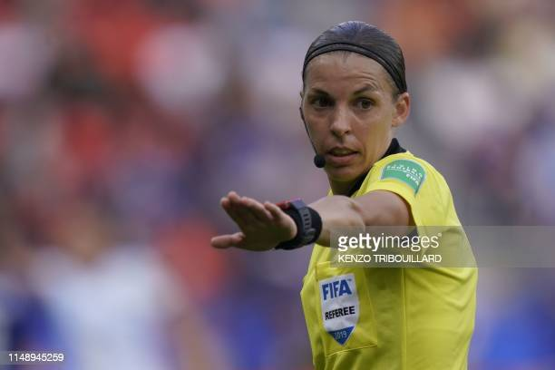 French referee Stephanie Frappart gestures during the France 2019 Women's World Cup Group D football match between Argentina and Japan on June 10 at...