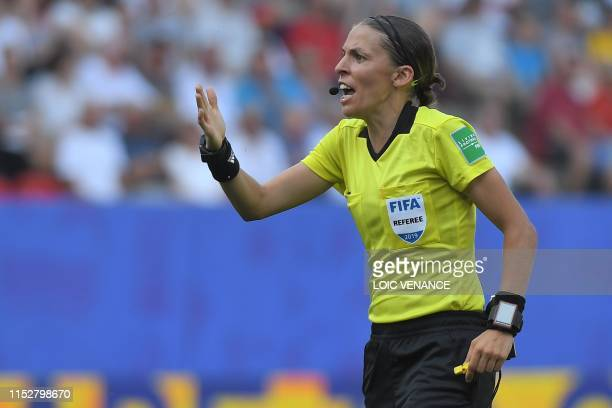 French referee Stephanie Frappart gestures during the France 2019 Women's World Cup quarterfinal football match between Germany and Sweden on June 29...