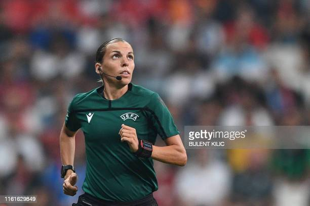 TOPSHOT French referee Stephanie Frappart is pictured ahead of the UEFA Super Cup 2019 football match between FC Liverpool and FC Chelsea at Besiktas...