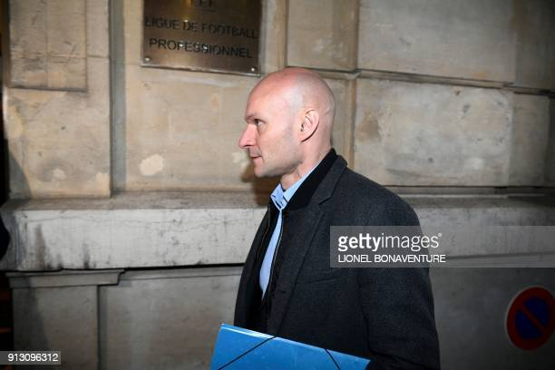 French referee Tony Chapron arrives to appear before the French Professional Football League disciplinary commission in Paris on February 1 after...