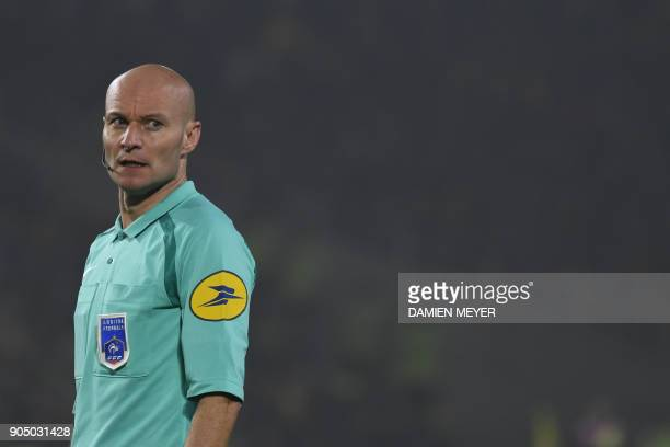 French referee Tony Chapron looks on during the French L1 football match between Nantes and Paris SaintGermain on January 14 2018 at Beaujoire...