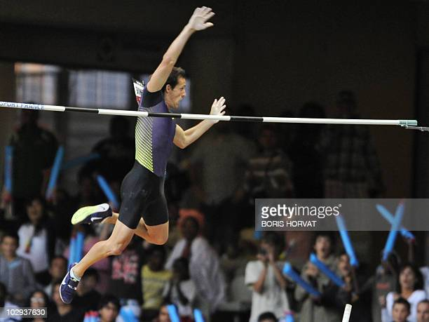 French Renaud Lavillenie competes in the men's pole vault event of the Paris IAAF Diamond League meeting on July 16, 2010 at the Stade de France in...
