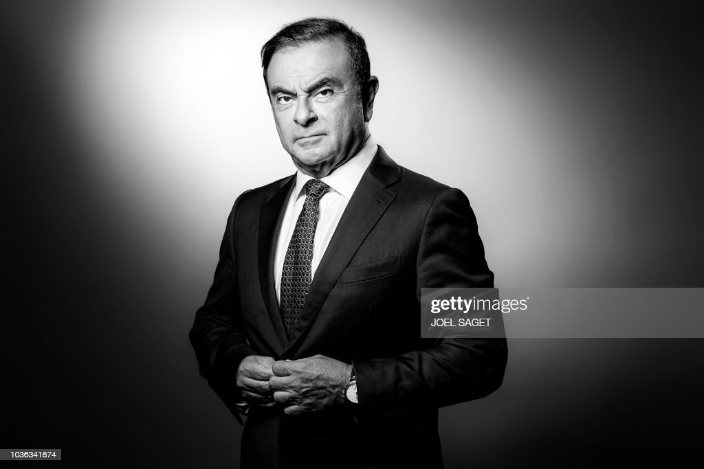 TOPSHOT-FRANCE-PORTRAIT-GHOSN-RENAULT-BLACK AND WHITE : News Photo