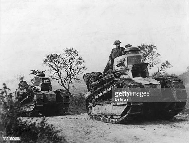 French Renault tanks used by American troops during World War I. Undated photograph.