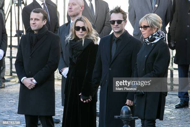 French Republic President Emmanuel Macron Laura Smet David Hallyday and Brigitte Macron are seen during Johnny Hallyday's funeral at Eglise De La...