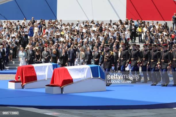 French Republican Guards arrive to carry the coffins of former French politician and Holocaust survivor Simone Veil and her husband Antoine Veil to...
