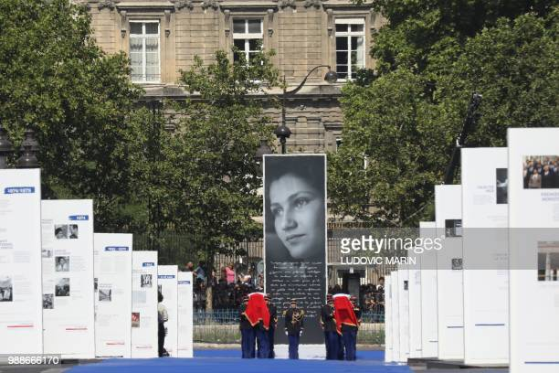 French Republican Guards carry the coffins of former French politician and Holocaust survivor Simone Veil and her husband Antoine Veil as they arrive...