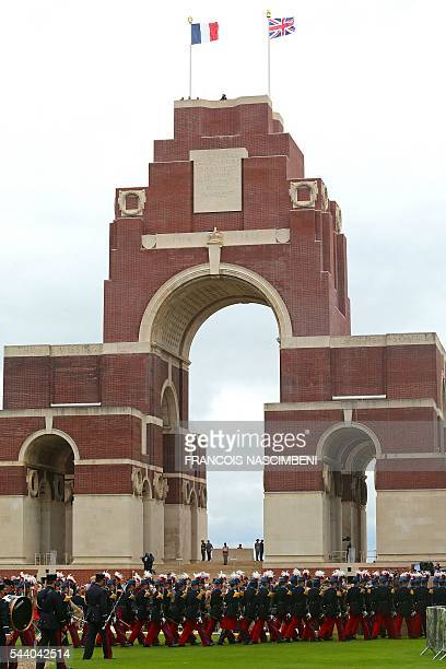 French Republican Guards march by the Thiepval Memorial on July 1 2016 during a ceremony marking the 100th anniversary of the World War I battle at...