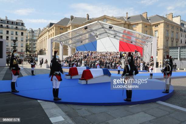 French Republican Guards stand guard around the coffins of former French politician and Holocaust survivor Simone Veil and her husband Antoine Veil...