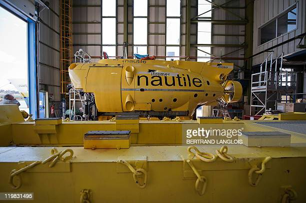French Research Institute for Exploration of the Sea Nautile a manned submarine designed for observing ocean floors is pictured prior to boarding a...