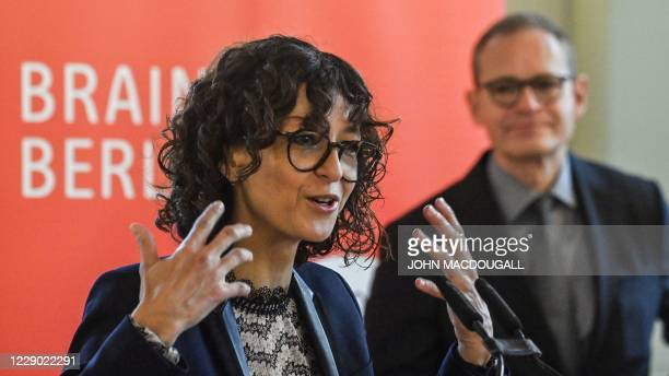 French researcher in Microbiology, Genetics and Biochemistry and 2020 Nobel Chemistry Prize laureate Emmanuelle Charpentier adresses a press...