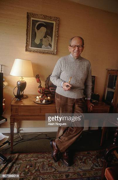 French Resistance leader Raymond Aubrac at home after his 1991 trial during which he was accused of betraying Jean Moulin The charges began in 1983...