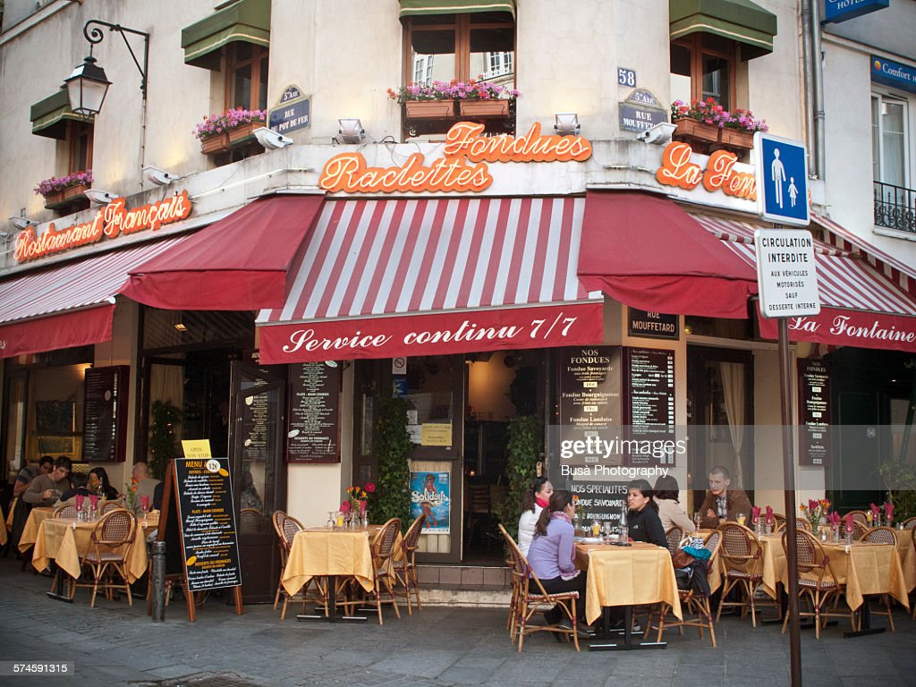 A French Restaurant In Rue Mouffetard Paris Stock Photo | Getty Images