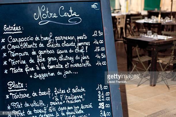 French restaurant menu board