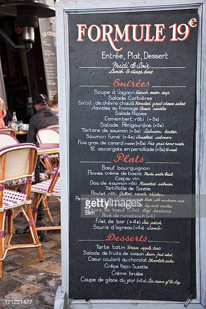 french restaurant menu, paris - menu stock pictures, royalty-free photos & images