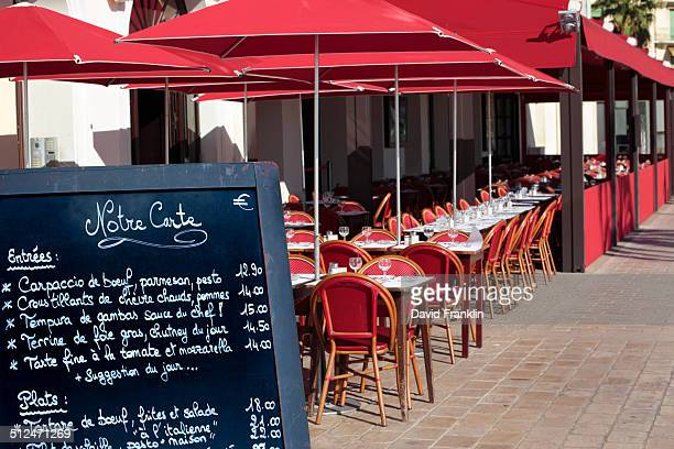 French restaurant with menu board