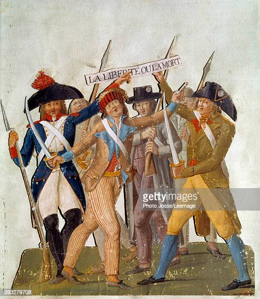 armed citizens 'The Freedom or Death' Gouache by Pierre Etienne Lesueur and Jacques Philippe Lesueur known as Lesueur brothers Carnavalet Museum...