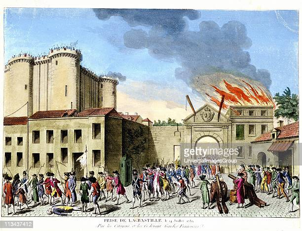 French Revolution 1789 Storming of the Bastille 14 July 1789 Medieval fortress used as French state prison in 17th and 18th centuries Handcoloured...