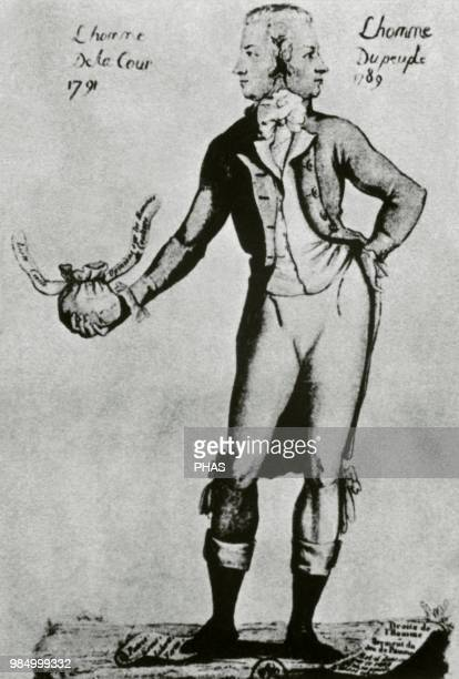 French Revolution Caricature depicting the ambiguity of the French politician Antoine Barnave revolutionary in 1789 and monarchical in 1791 Anonymous...