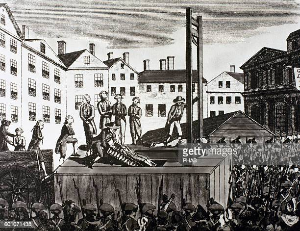 French Revolution Execution of 9 young immigrants sentenced to death by a revolutionary court in 1792 Engraving of the time