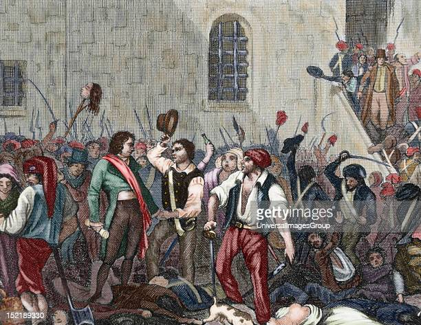 French Revolution Execution of clerics and prisoners by members of the Paris Commune September Colored engraving 19th century