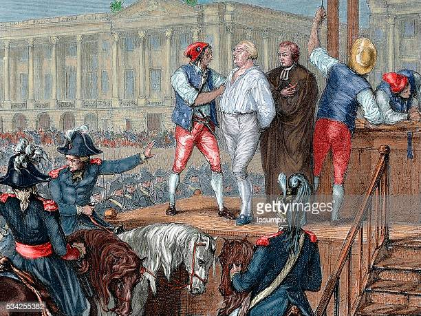 French Revolution. Execution of King Louis XVI on January 21, 1793. Colored engraving.